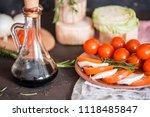 italian bruschetta with chopped ... | Shutterstock . vector #1118485847