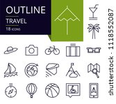 set of outline icons of travel. ...