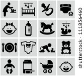 Baby icons set. - stock vector