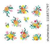 floral decorative arrangements. ... | Shutterstock .eps vector #1118571797