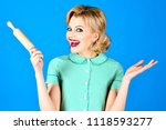 pin up woman holds rolling pin. ... | Shutterstock . vector #1118593277