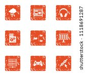 date advice icons set. grunge... | Shutterstock .eps vector #1118691287