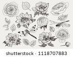 big set of monochrome vintage... | Shutterstock .eps vector #1118707883