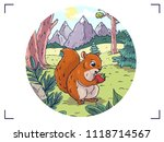 squirrel in the forest against... | Shutterstock .eps vector #1118714567