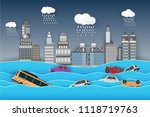 city   flood   flooding water... | Shutterstock .eps vector #1118719763