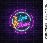 neon sign of bar with live... | Shutterstock . vector #1118746787