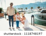 happy family on holiday in... | Shutterstock . vector #1118748197