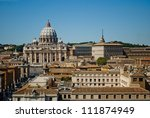 Vatican view from Saint Angelo's Castle - stock photo