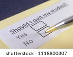 should i quit my studies  yes... | Shutterstock . vector #1118800307