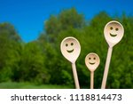 wooden spoons look like happy... | Shutterstock . vector #1118814473