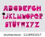 pink monster typography design...   Shutterstock .eps vector #1118901017