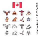 canada icons set. traditional... | Shutterstock . vector #1118906633