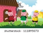 A vector illustration of a wolf and three little pigs