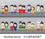 kids asian in traditional... | Shutterstock .eps vector #1118960087
