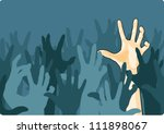 zombie crowd attacking a man | Shutterstock .eps vector #111898067
