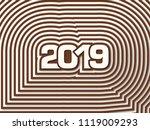 happy new year 2019 text design ... | Shutterstock .eps vector #1119009293