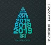 happy new year 2019 text design ... | Shutterstock .eps vector #1119009347