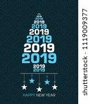 happy new year 2019 text design ... | Shutterstock .eps vector #1119009377