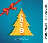 happy new year 2019 text design ... | Shutterstock .eps vector #1119009383