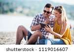 summer time. beautiful young... | Shutterstock . vector #1119016607