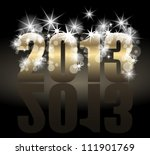 Year 2013 with many stars and lights - stock vector