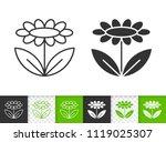 flower black linear and...   Shutterstock .eps vector #1119025307