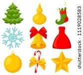 colorful cartoon 9 xmas... | Shutterstock .eps vector #1119028583