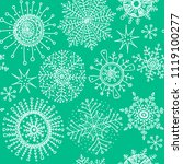 snowflakes doodle pattern.... | Shutterstock .eps vector #1119100277