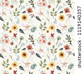 vector floral pattern in doodle ...   Shutterstock .eps vector #1119140357