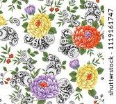 flower pattern on black paisley   Shutterstock .eps vector #1119161747