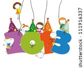cute card on new year 2013 with ... | Shutterstock . vector #111916337