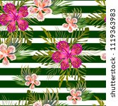 flowers tropical pattern | Shutterstock .eps vector #1119363983