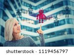 beautiful blonde woman pointing ... | Shutterstock . vector #1119456797