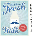 vintage milk poster template vector/illustration - stock vector