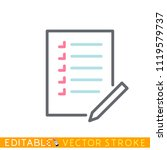 list and pencil icon. editable...   Shutterstock .eps vector #1119579737