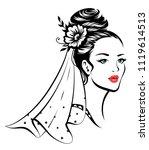 portrait of young beautiful... | Shutterstock .eps vector #1119614513