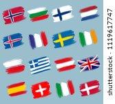 brushstroke european flags ... | Shutterstock .eps vector #1119617747