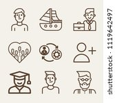 set of 9 man outline icons such ... | Shutterstock .eps vector #1119642497