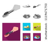 tongs with steak  fried meat on ... | Shutterstock .eps vector #1119671753