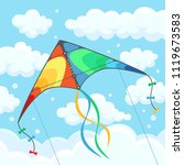 flying colorful kite in the sky ... | Shutterstock .eps vector #1119673583