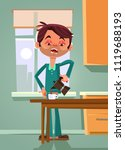 sad unhappy tired office worker ... | Shutterstock .eps vector #1119688193