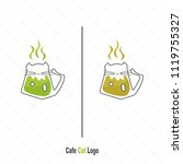 coffee cup with cat logo modern ... | Shutterstock .eps vector #1119755327