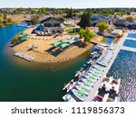 aerial view of aquatic center... | Shutterstock . vector #1119856373