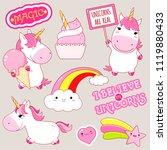 set of cute unicorns in kawaii... | Shutterstock .eps vector #1119880433