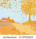beautiful autumn rural landscape | Shutterstock .eps vector #1119920633