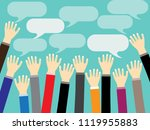 businessman hand raised up with ...   Shutterstock .eps vector #1119955883