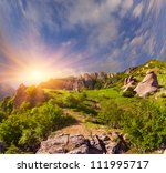 Stock photo summer landscape in the mountains sunrise 111995717