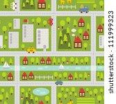 Cartoon Map Seamless Pattern O...
