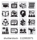 vector black higher education icons set on gray - stock vector