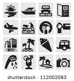 vector black travel icon set on ... | Shutterstock .eps vector #112002083